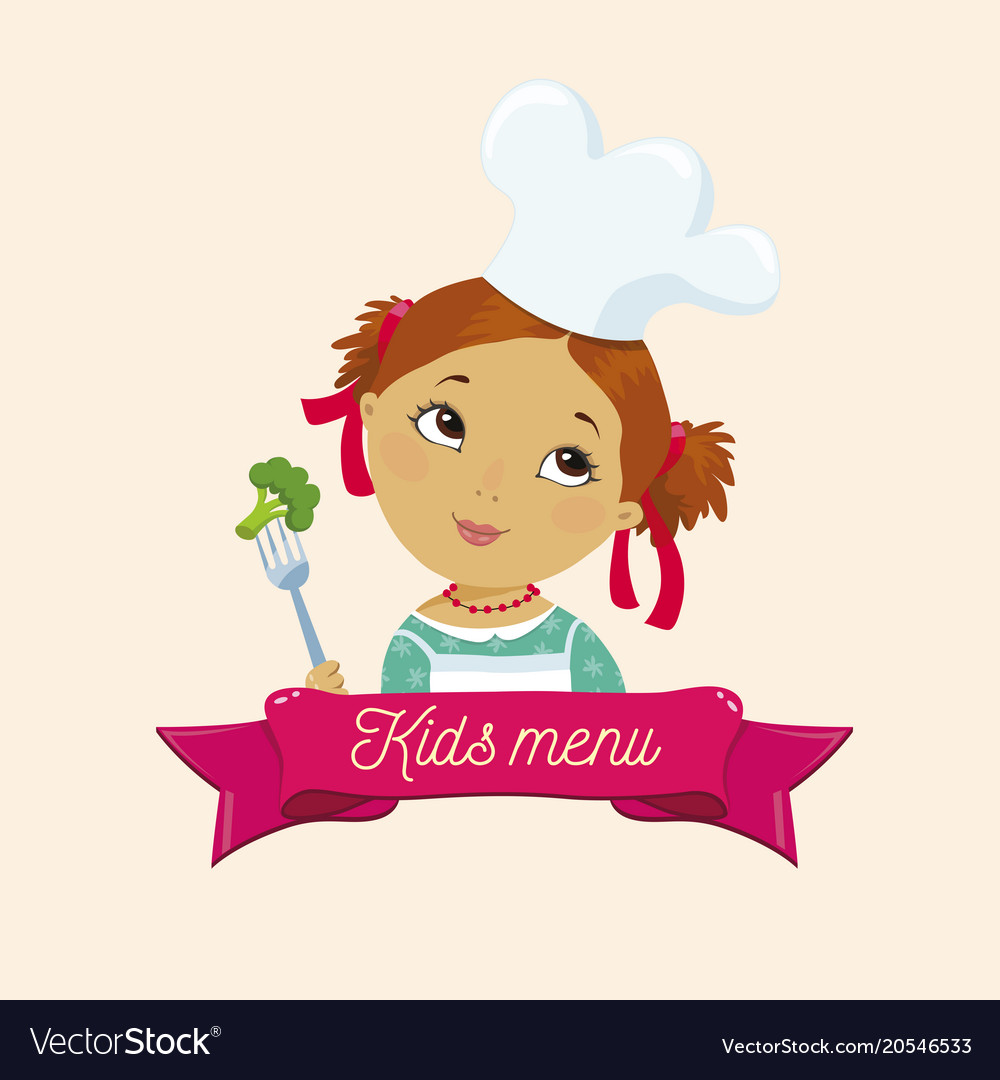 kids menu template logo icon sign concept vector image