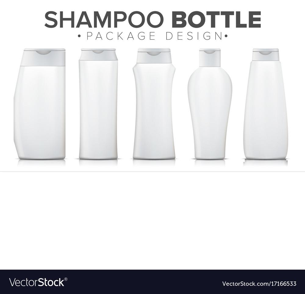 Realistic shampoo bottle set packaging mock up