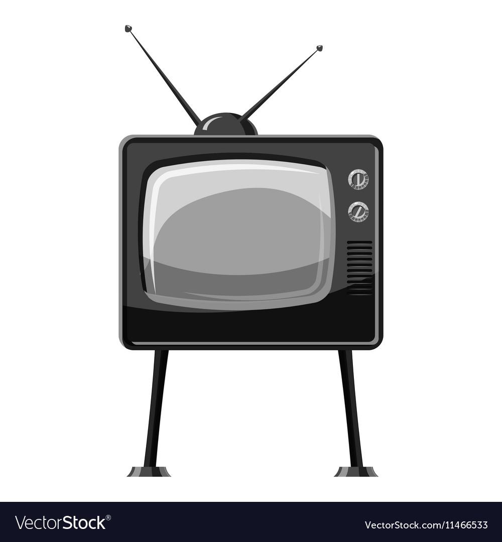 Retro TV icon gray monochrome style