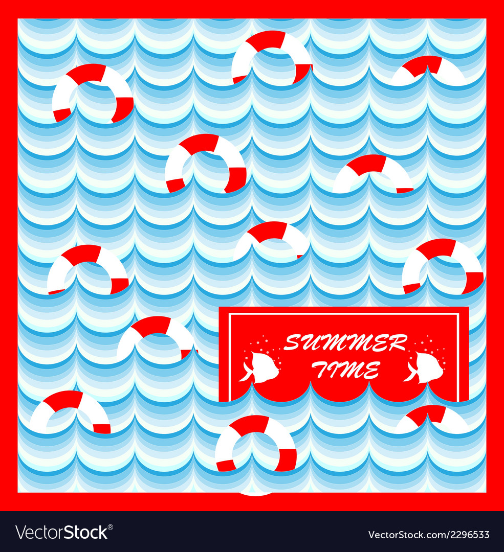 Summer card with lifeline vector image