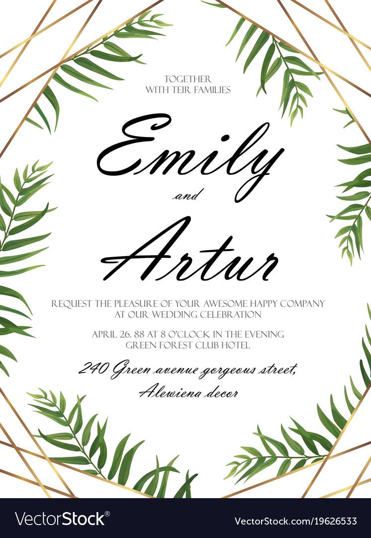 Wedding invitation floral invite card design Vector Image