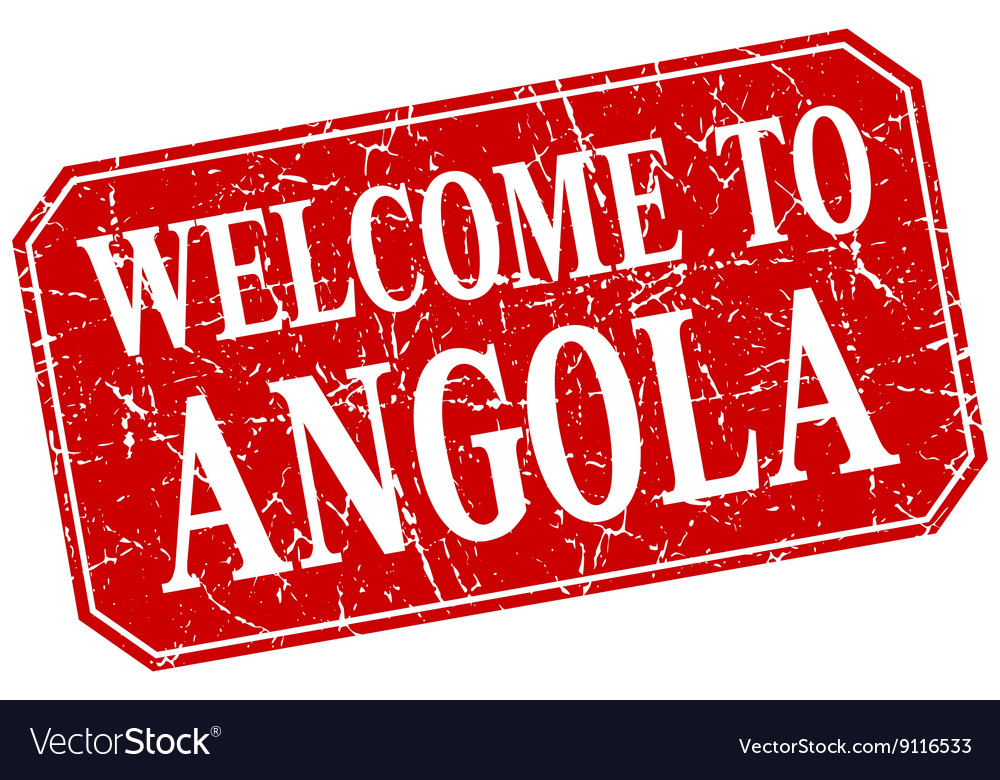 Welcome to Angola red square grunge stamp vector image on VectorStock