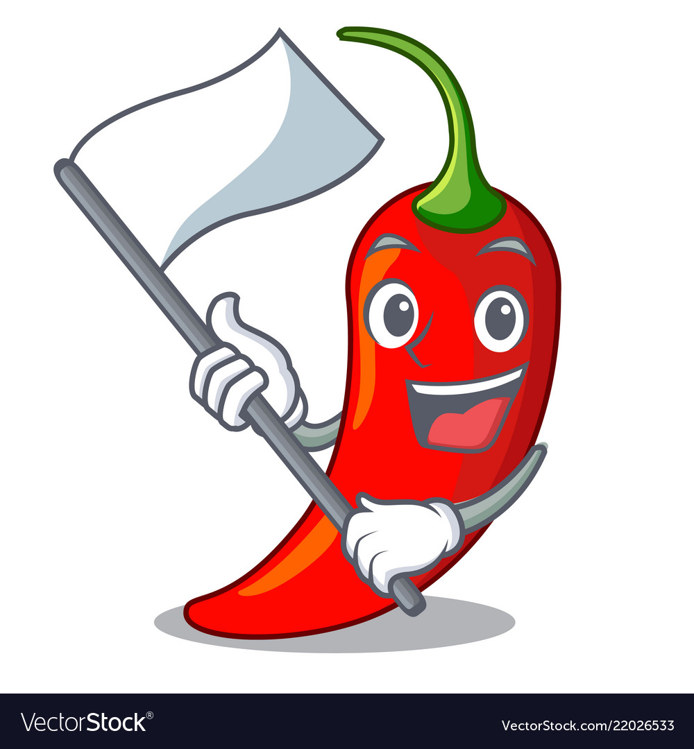 With flag red chili pepper isolated on mascot