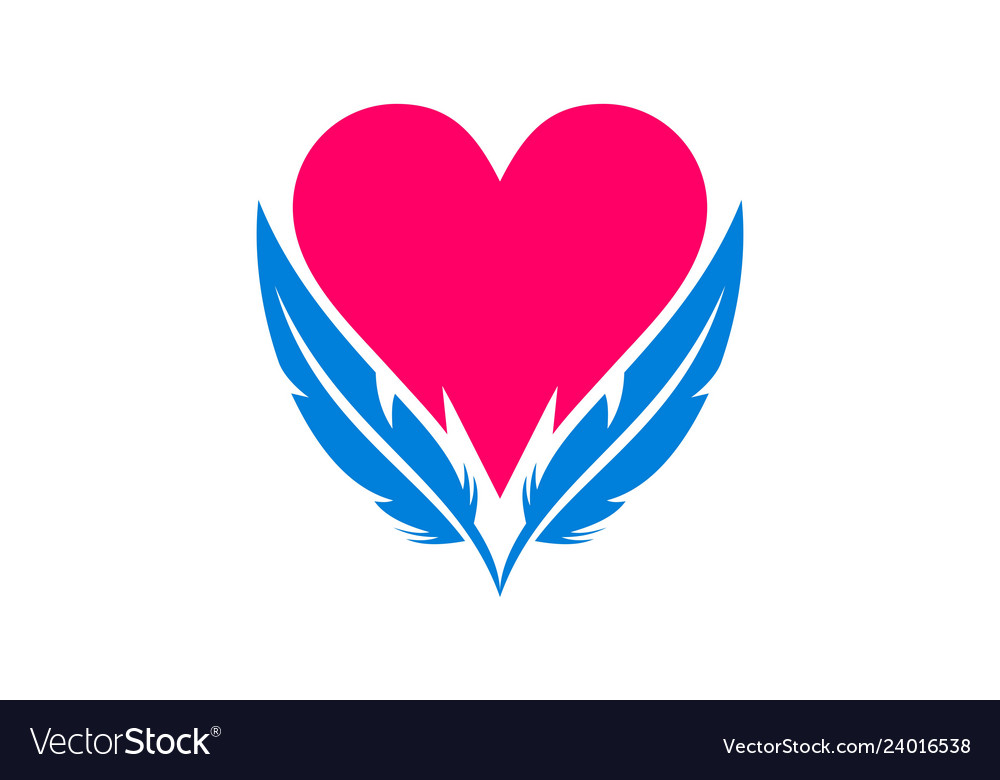 Abstract love heart feather logo icon