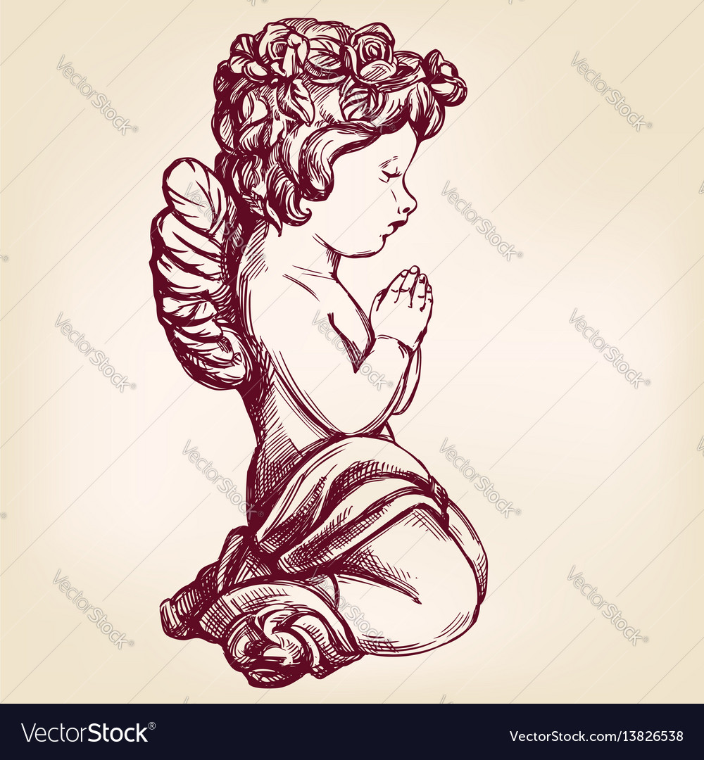 Angel prays on his knees religious symbol of
