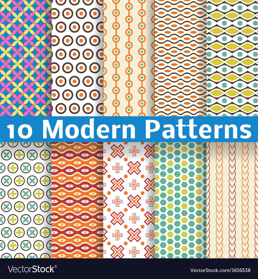 Different modern seamless patterns tiling