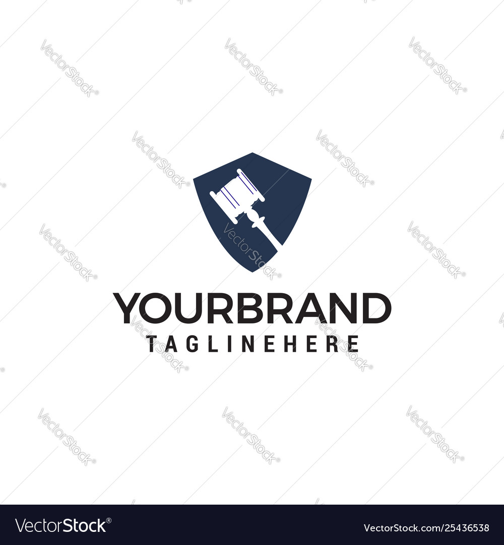 Hammer judge logo design concept template