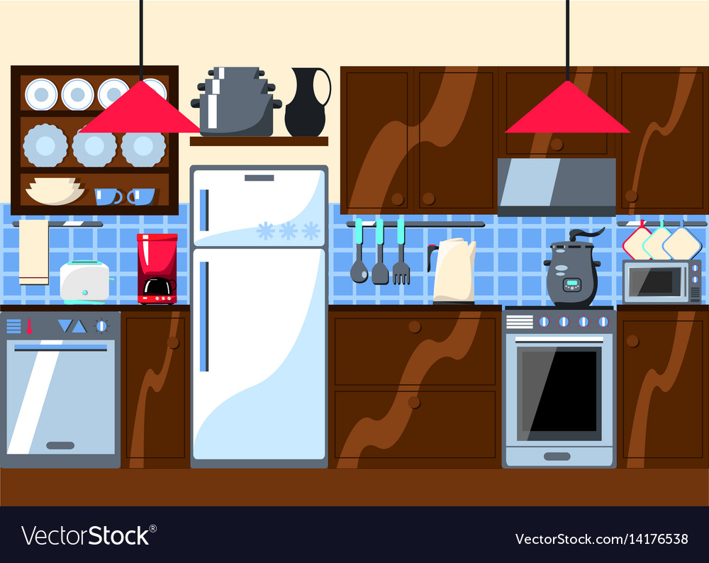 Kitchen room with furniture and home appliances