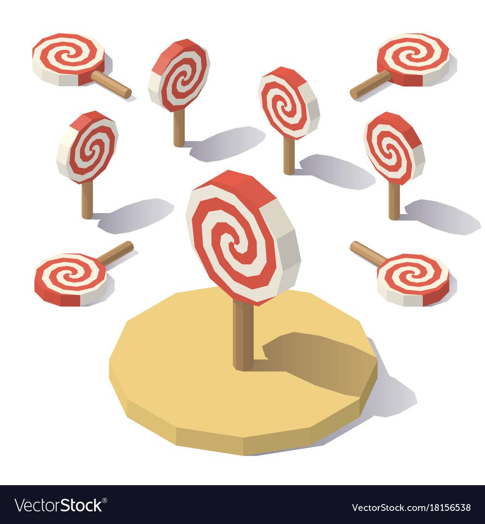 Low poly christmas lollipop