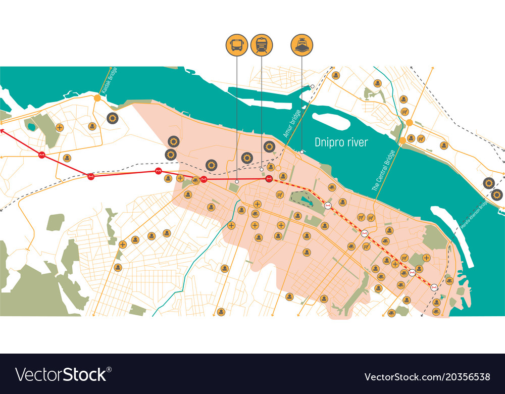Map of the dnieper ukraine Royalty Free Vector Image Dnieper River Map on