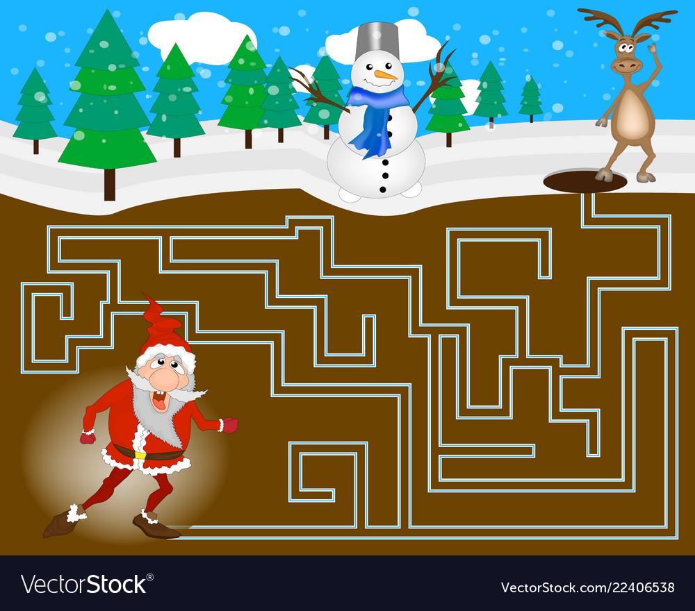 Maze for children with santa