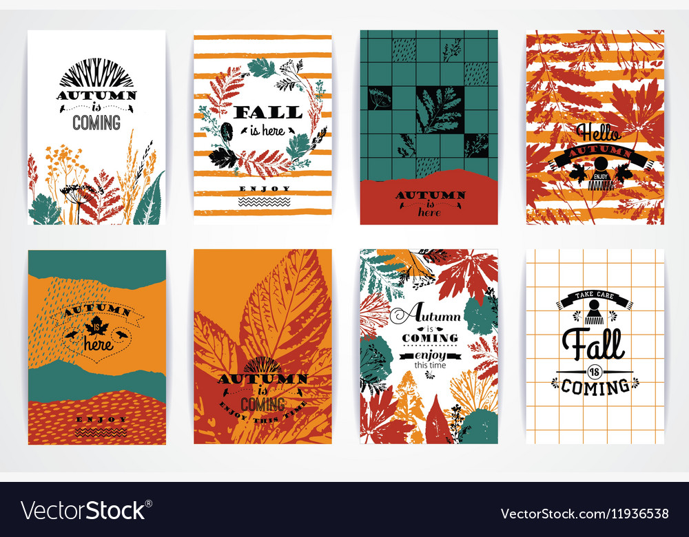 Set of artistic creative autumn cards vector image