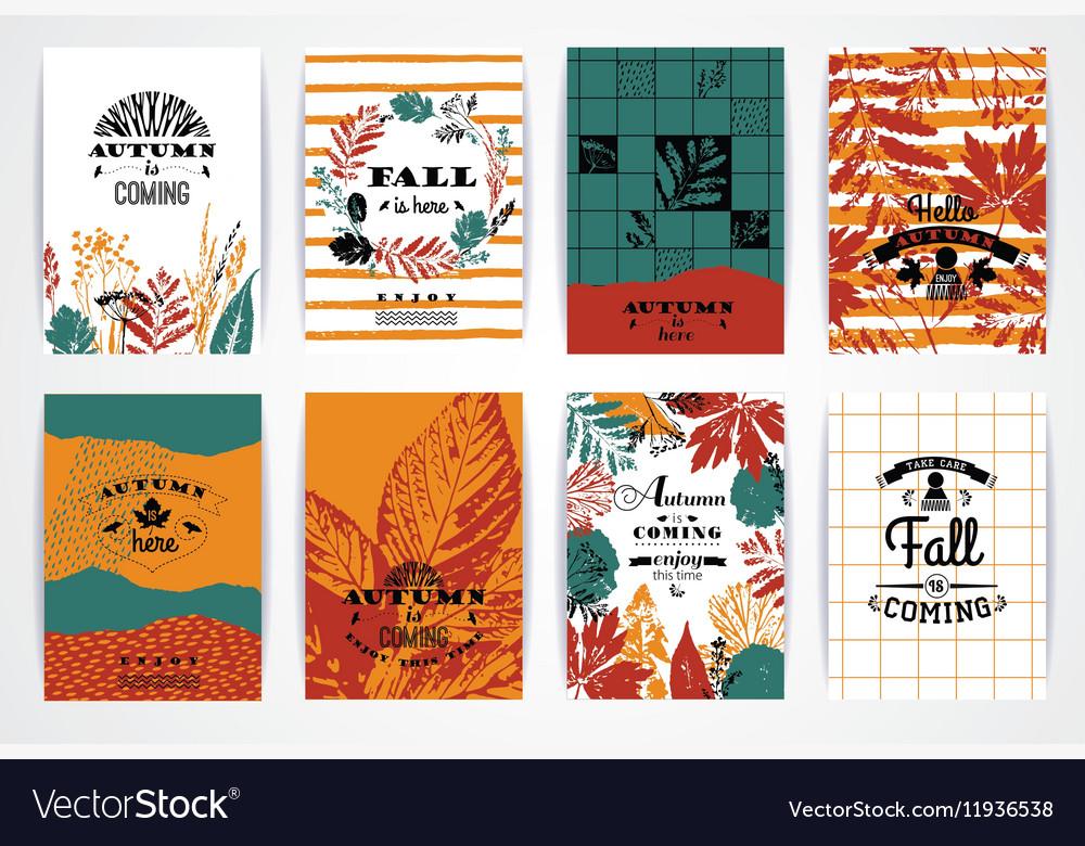 Set of artistic creative autumn cards