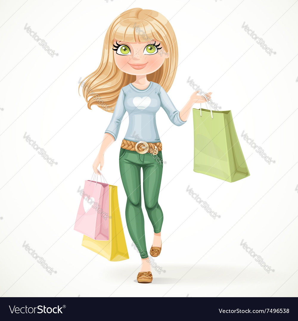 Shopaholic blond girl goes with paper bags vector image