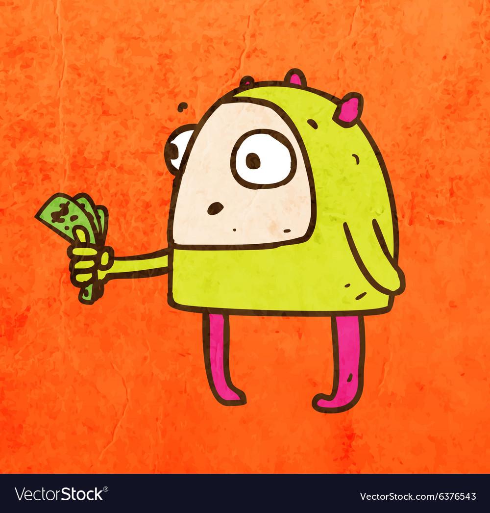 Alien with Money Cartoon