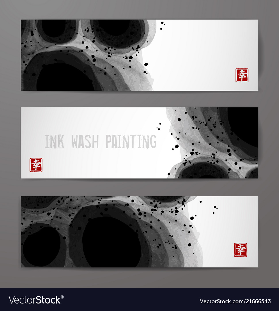 Banners with abstract black ink wash painting