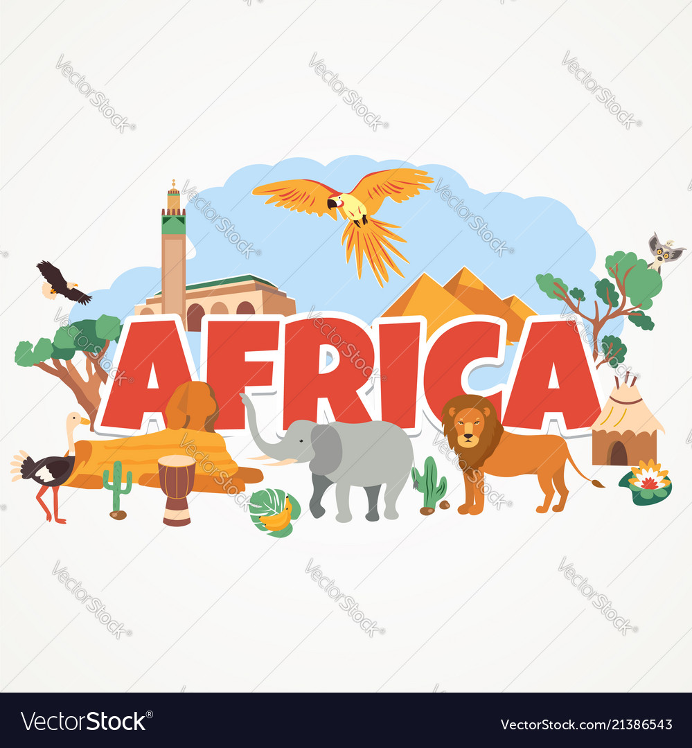 Bright postcard with landmarks and animals africa