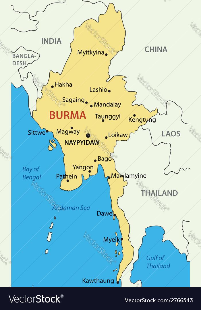 Burma   map Royalty Free Vector Image   VectorStock