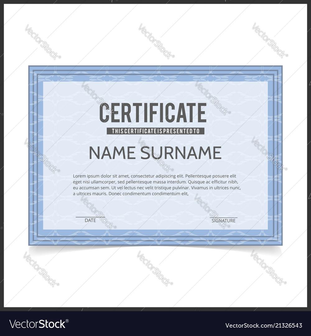 Certificate template with blue designe borders