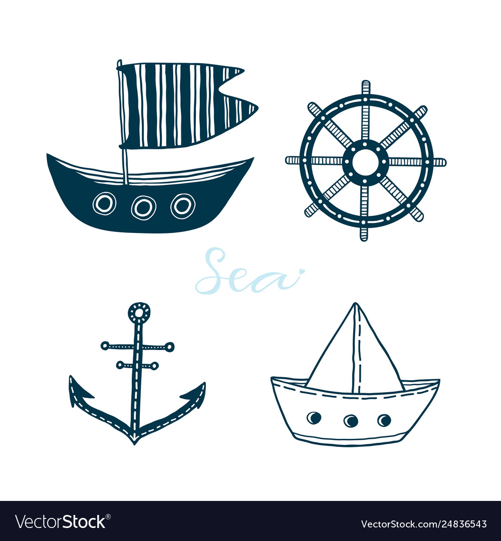 Collection marine icons with boat ship wheel