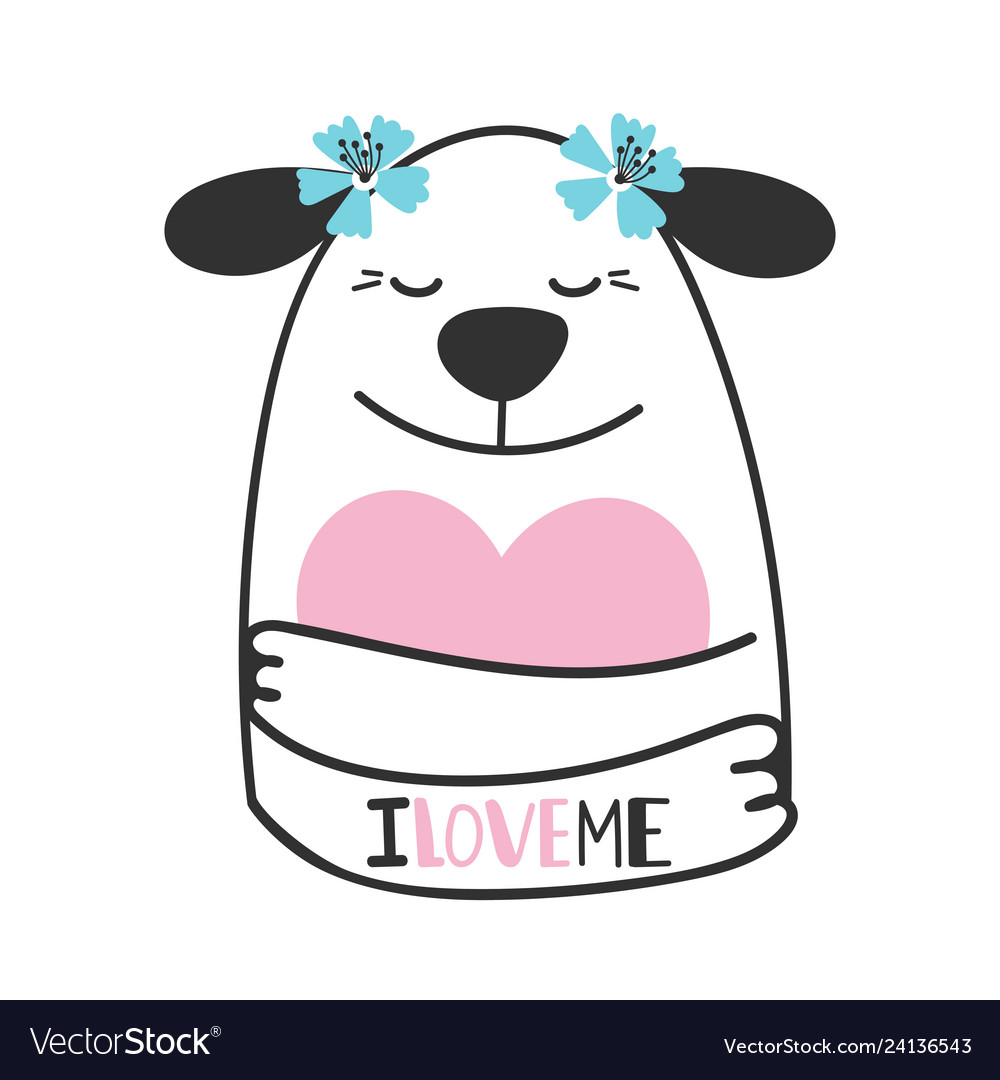 Cute doodle dog hugs heart