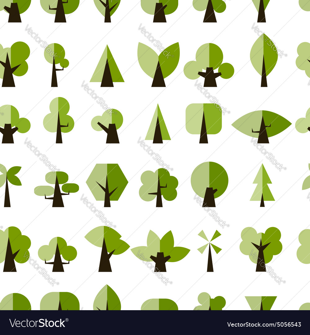 Green trees seamless pattern for your design vector image