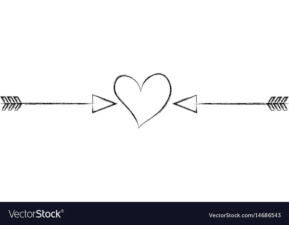 Heart love with arrows romantic icon