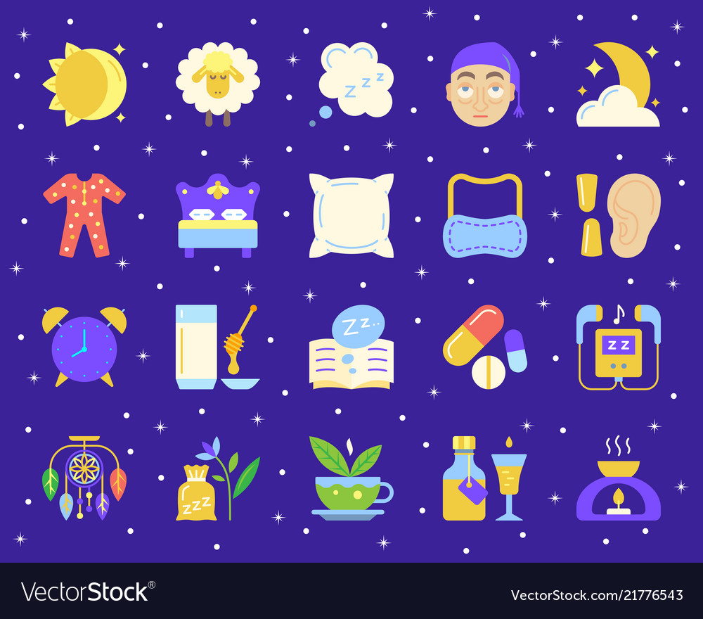 Insomnia simple flat color icons set