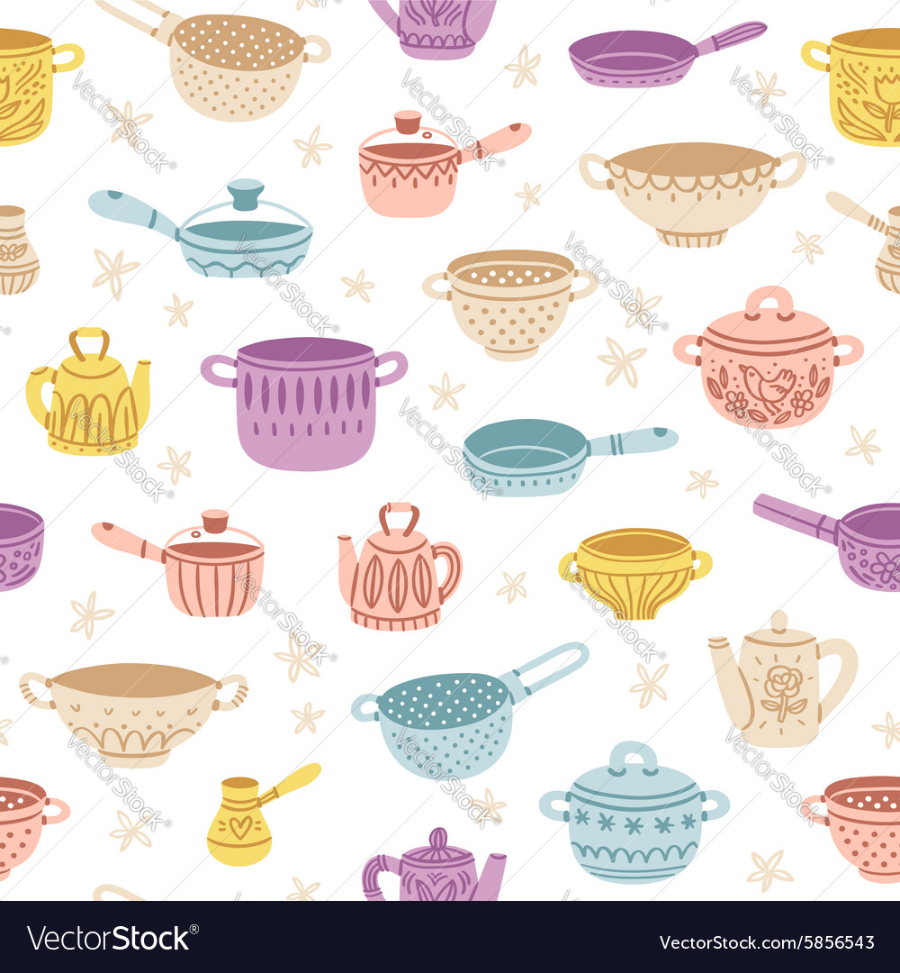 Kitchenware doodle decorated colorful seamless vector image