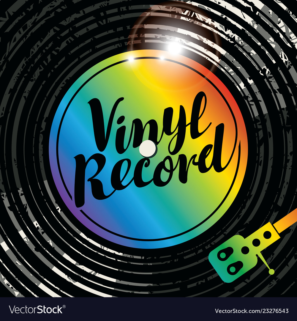 Music poster with vinyl record and player