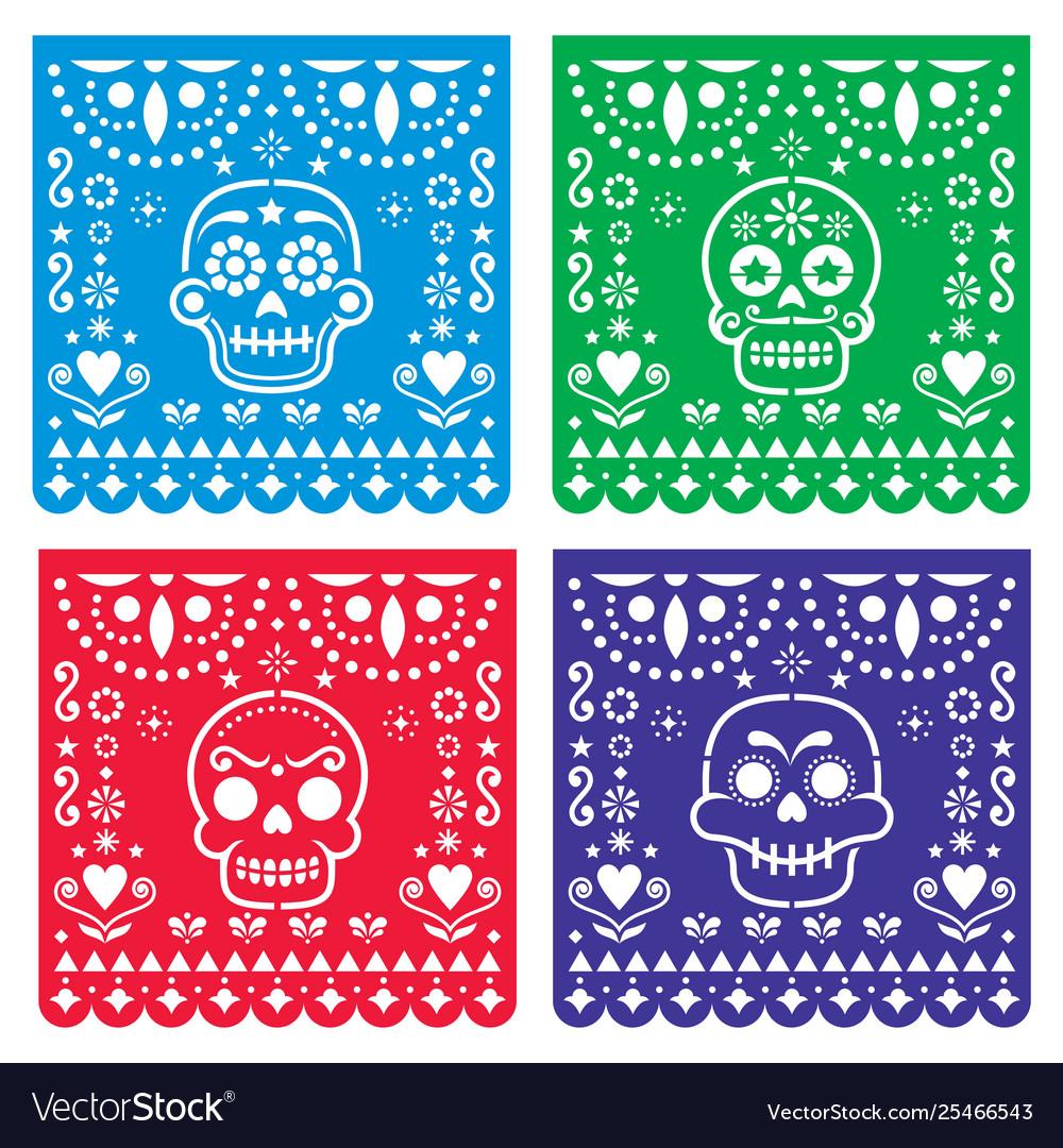 Papel picado design with sugar skulls mexican