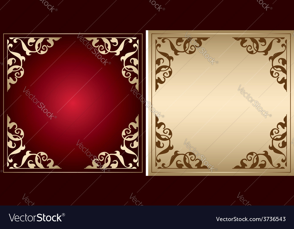 Red And Gold Frames With Vintage Decorations Vector Image