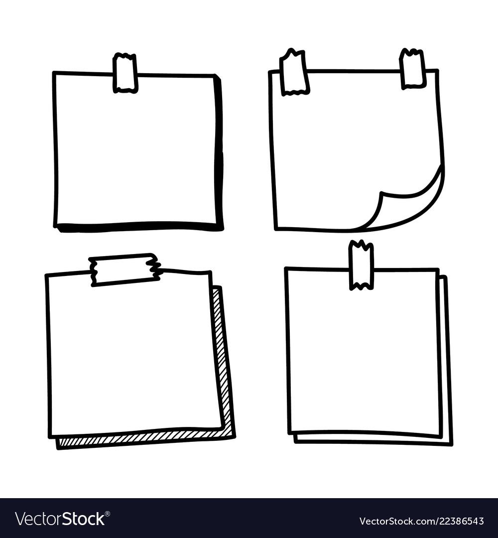 Set hand drawn doodle notepaper