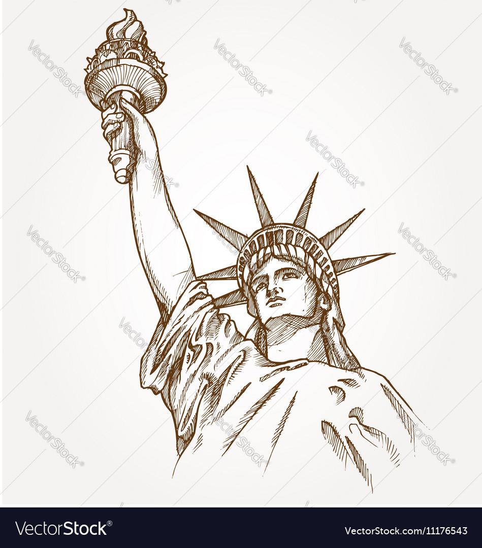 Statue of liberty hand dawn