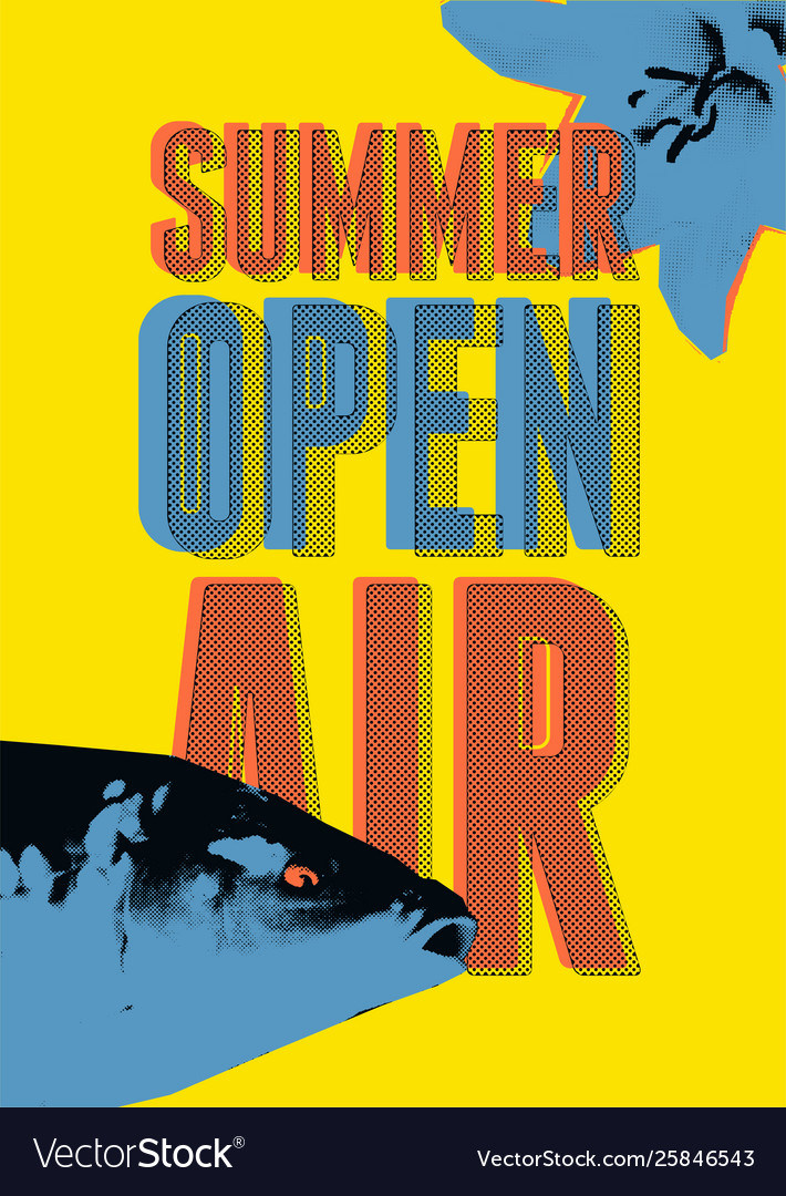 Summer open air fest retro grunge pop-art poster