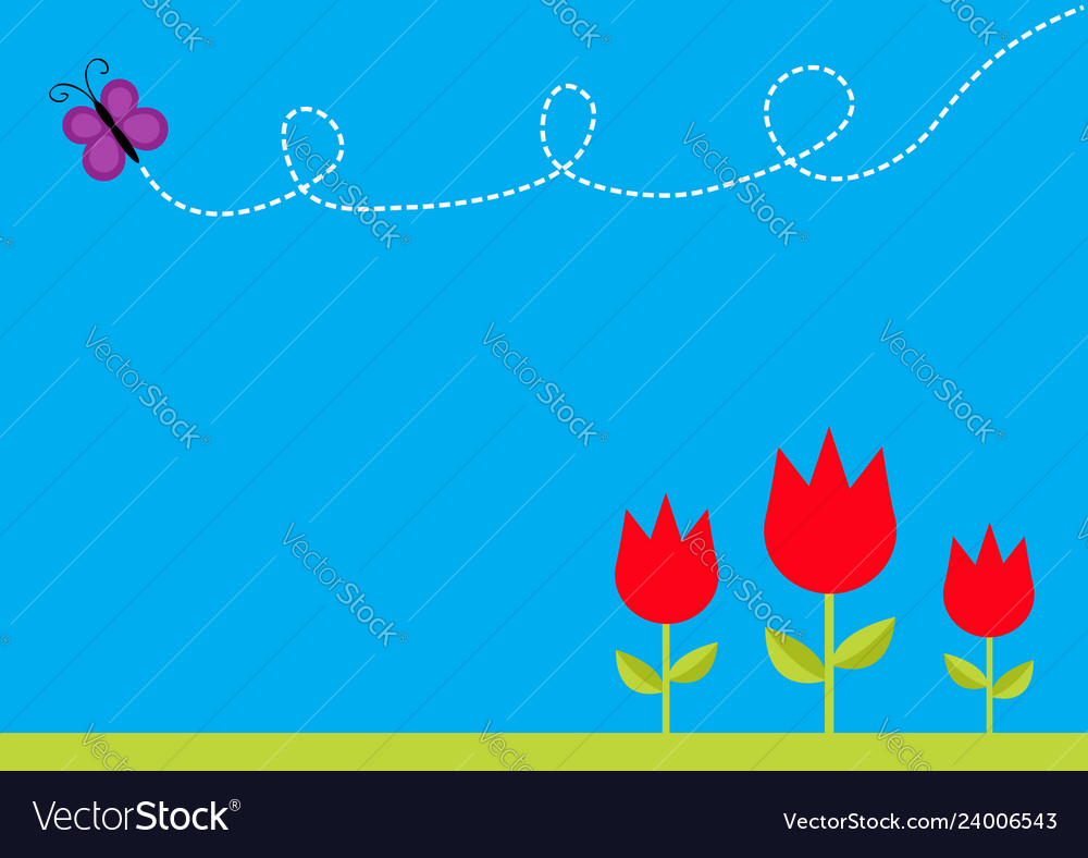 Three red tulip flower set with leaf and flying