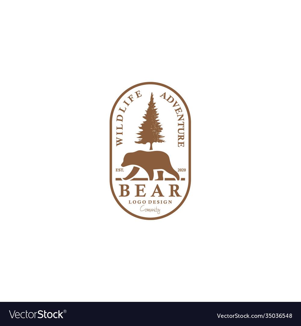 Bear logo for vintage badge adventure travel