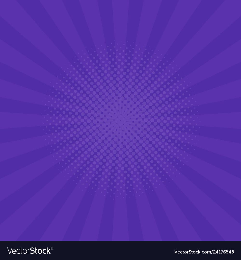Bright purple rays background comics pop art style
