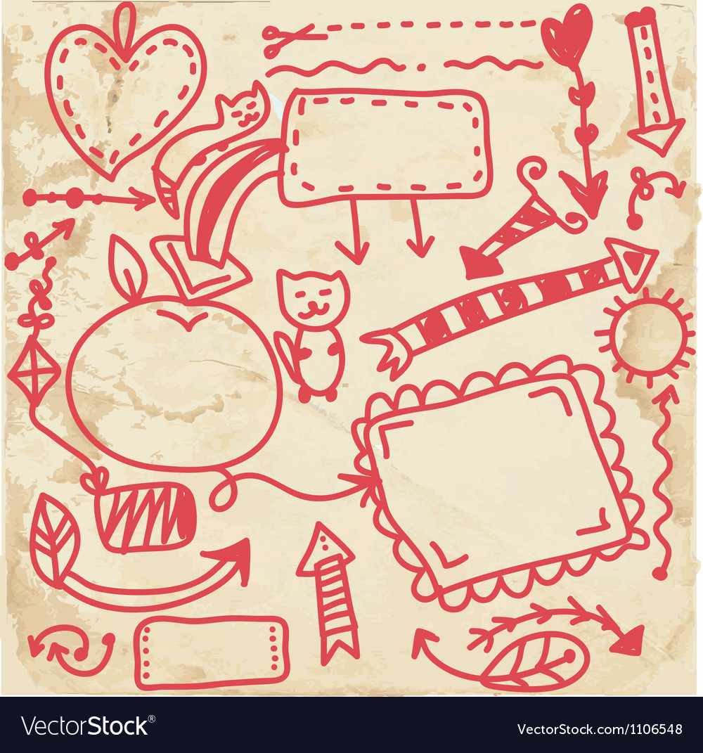 Doodle frames on the paper texture vector image