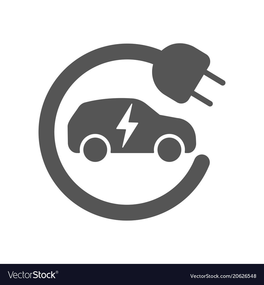 Electric Car In Refill Icon Electric Royalty Free Vector