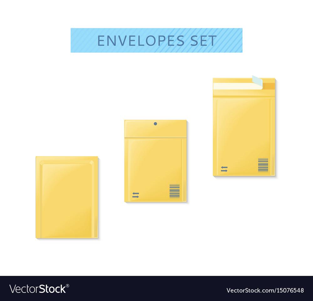 Envelope set open and close design flat vector image