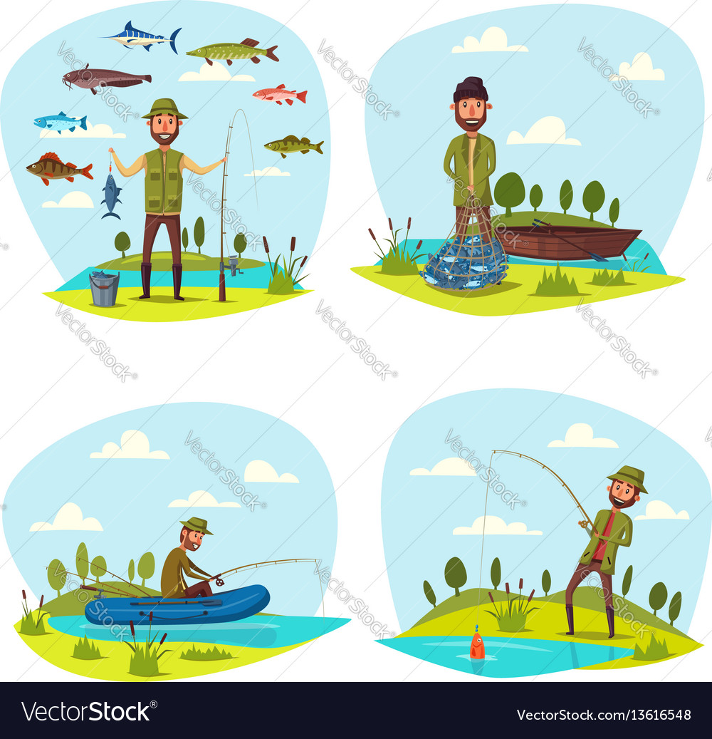 Fisher Man Fishing Big Fish Catch Royalty Free Vector Image