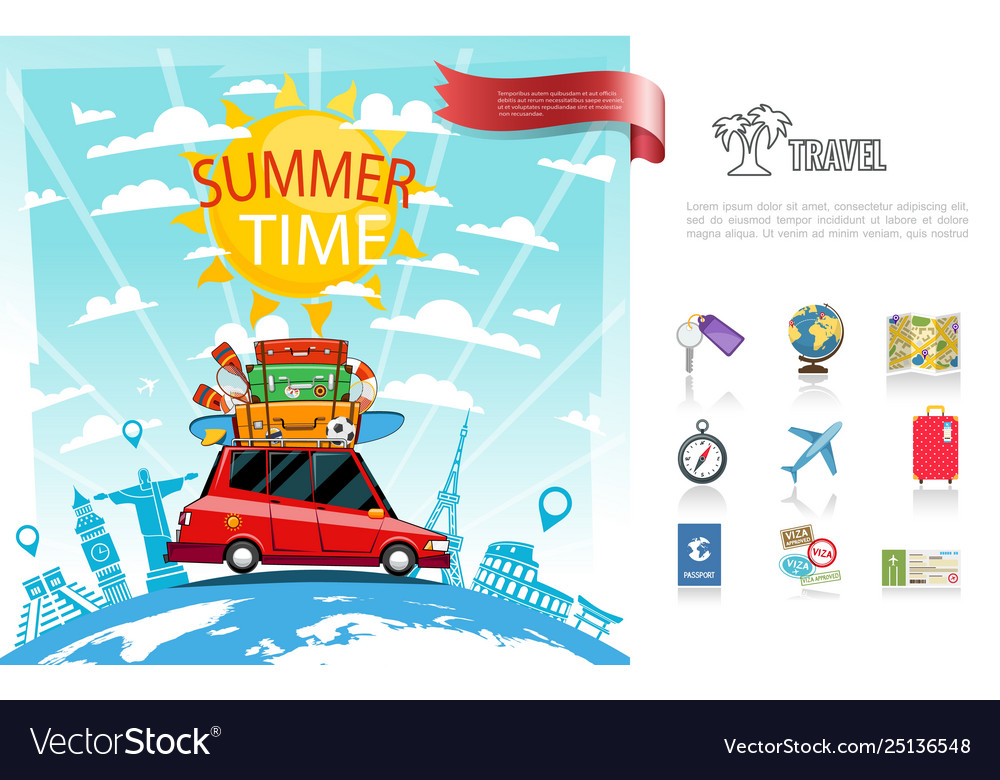 Flat summer travel concept
