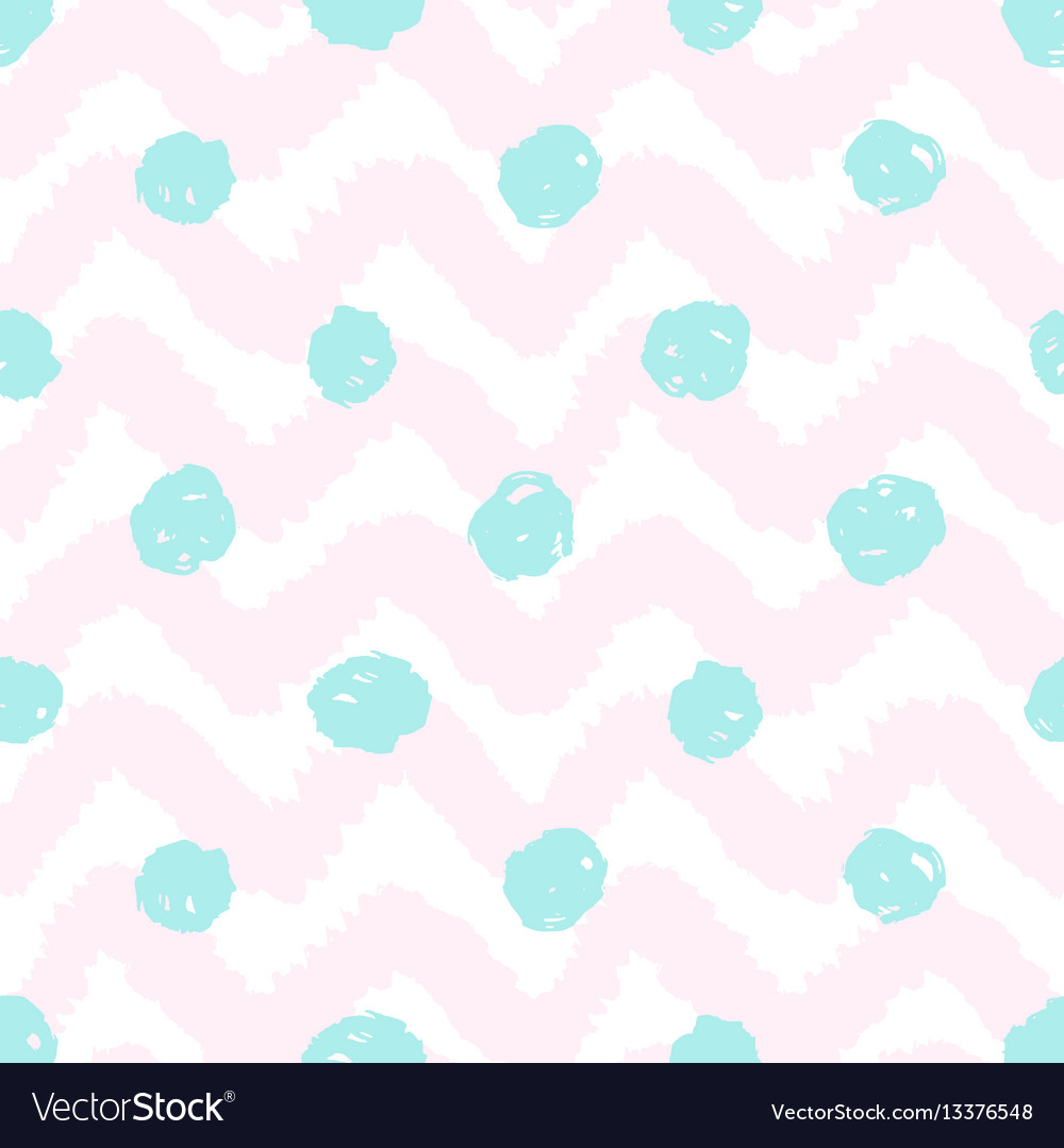 Grunge chevron and polka dots seamless pattern vector image