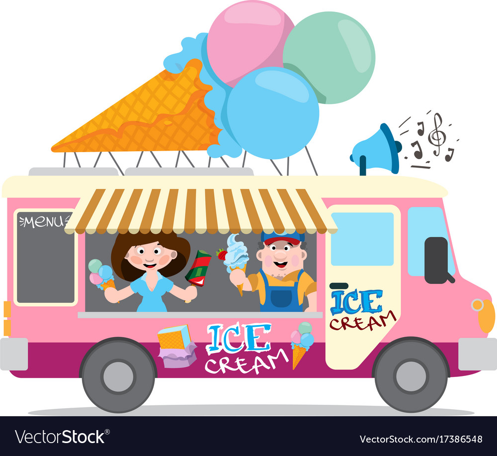 Ice cream van professions color cartoon character Vector Image