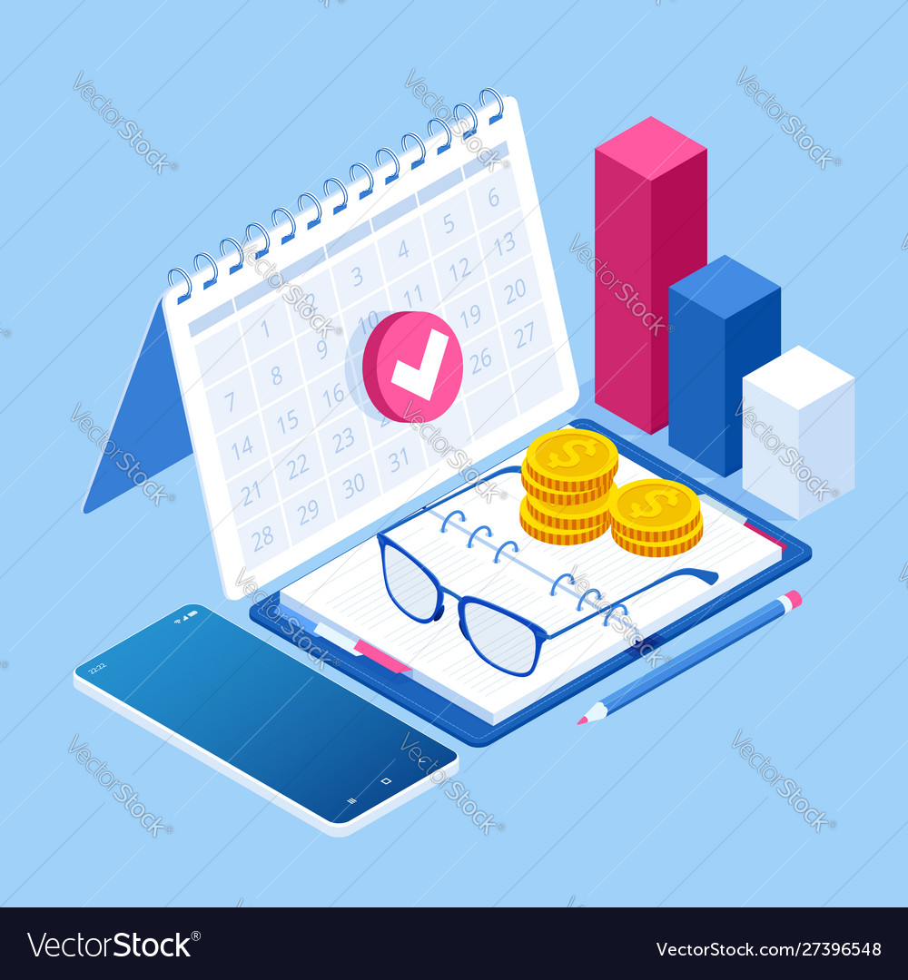 Isometric planning business task schedules for the