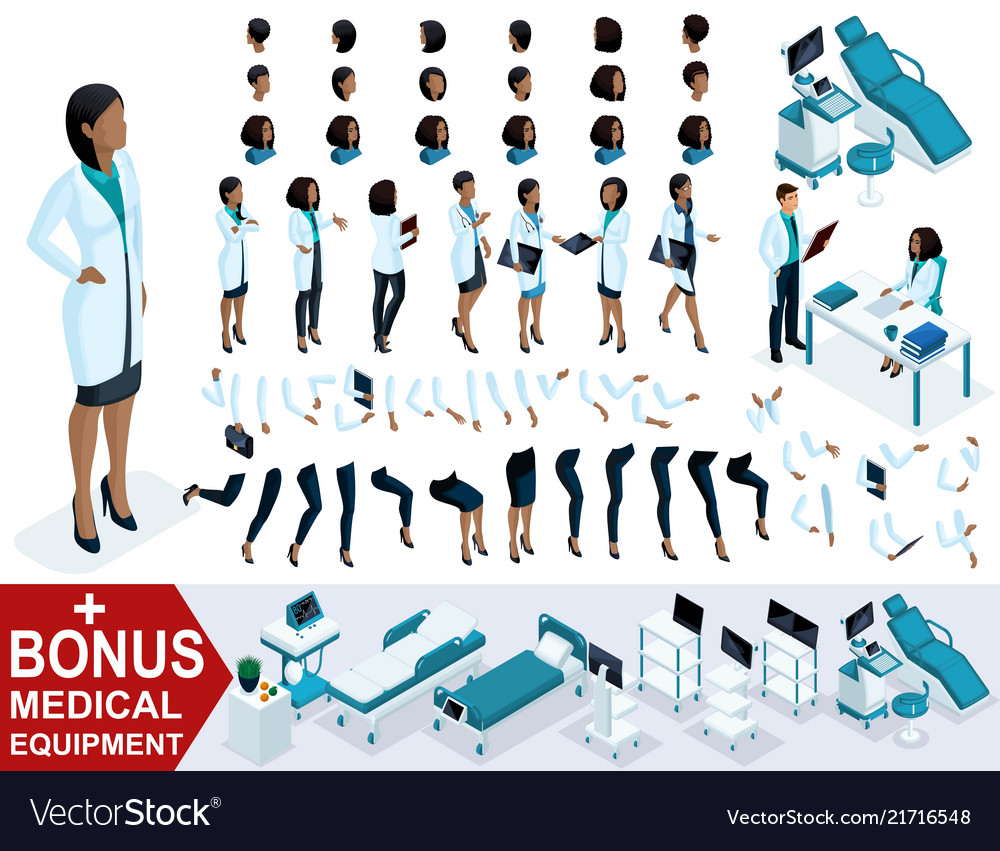 Isometric woman doctor african american create
