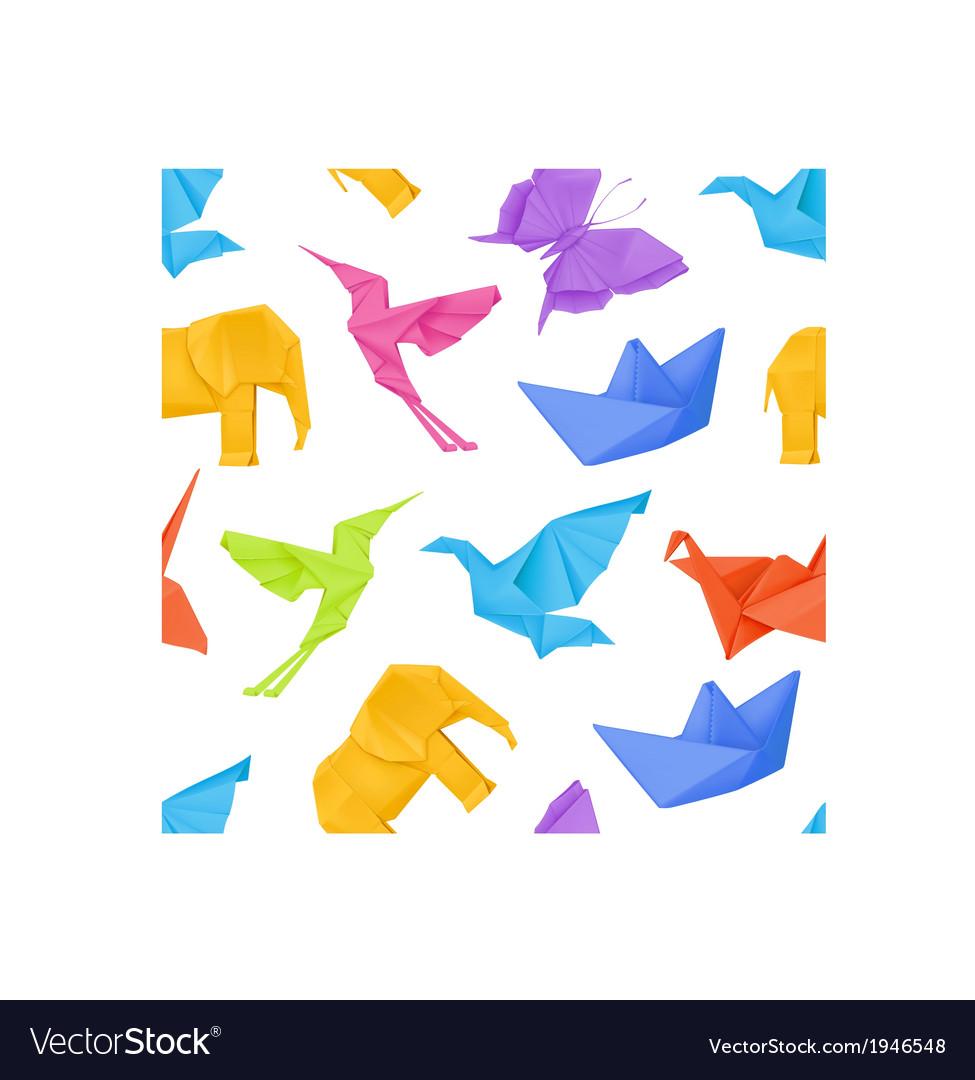Origami multicolored seamless pattern