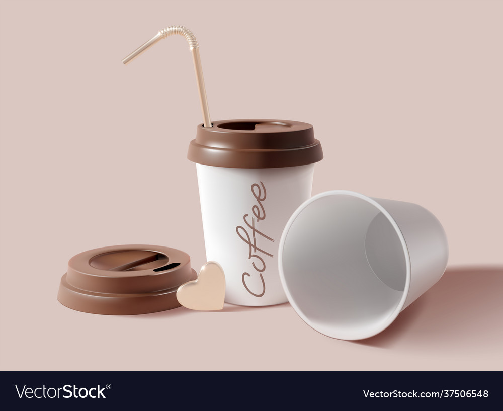 Realistic detailed 3d paper coffee cup set