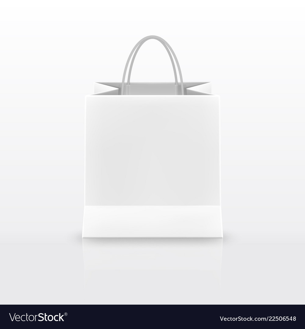 Realistic white paper shopping bag with handles